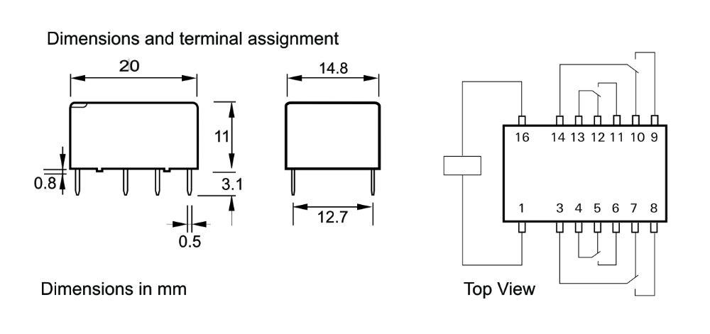 Siemens V23104 relay dimensions